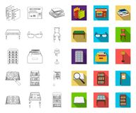 Library and bookstore outline,flat icons in set collection for design. Books and furnishings vector symbol stock web. Library and bookstore outline,flat icons in royalty free illustration