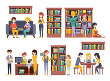 Library And Bookstore With People REading Choosing Books. Library And Bookstore With People Reading And Choosing Books. People Buying Books And Studying Together vector illustration