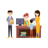 Library Or Bookstore With People Using Help Of Librarian To Choose The Books. Flat Primitive Vector Illustration With Colorful Human Characters In Bookshop royalty free illustration