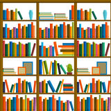 Library, bookstore - Seamless pattern with books on bookshelves. Books in shelves for bookstore. Seamless pattern from books for bookshop. Sale in bookstore Stock Images