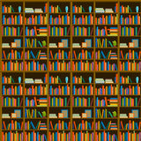 Library, bookstore - Seamless pattern with books on bookshelves. Books in shelves for bookstore. Seamless pattern from books for bookshop. Sale in bookstore Stock Image