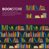 Library, bookstore - Seamless pattern with books on bookshelves. Books in shelves for bookstore. Seamless pattern from books for bookshop. Sale in bookstore Stock Photos