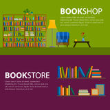 Library, bookstore - Seamless pattern with books on bookshelves. Books in shelves for bookstore. Seamless pattern from books for bookshop. Sale in bookstore Royalty Free Stock Photography