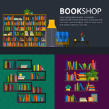 Library, bookstore - Seamless pattern with books on bookshelves. Books in shelves for bookstore. Seamless pattern from books for bookshop. Sale in bookstore Royalty Free Stock Photo