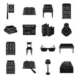 Library and bookstore set icons in black style. Big collection of library and bookstore vector symbol stock illustration. Library and bookstore set icons in Stock Photos