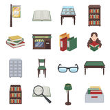 Library and bookstore set icons in cartoon style. Big collection of library and bookstore vector symbol stock. Library and bookstore set icons in cartoon design Stock Images