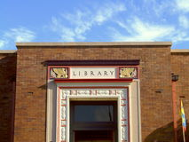 Library Building. Detail of the exterior of an old, Art Deco style, public library stock photography