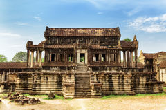 Library building of complex Angkor Wat in Siem Reap, Cambodia Royalty Free Stock Images