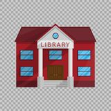 Library building in Flat style isolated on transparent background Vector Illustration.
