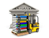 Library Building and Forklift with Stack of Books Royalty Free Stock Photography