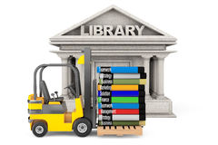 Library Building and Forklift with Stack of Books Royalty Free Stock Photo