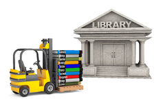 Library Building and Forklift with Stack of Books Royalty Free Stock Image