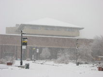 Library building in heavy Snow Storm UWM Stock Photo
