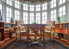 The Library, Burton Agnes Hall, Yorkshire, England. This Library with a wonderful bow window was originally known as gentlemen`s lodgings and restored in 1951 stock photo