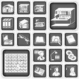 Library buttons set Stock Photos