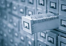 Library card archive or index toned image Stock Images