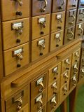 Library Card Catalog. Vintage library card catalog in small town America stock image