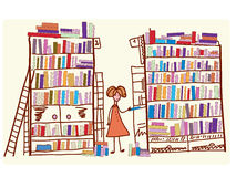 Library cartoon with child. And many books stock illustration