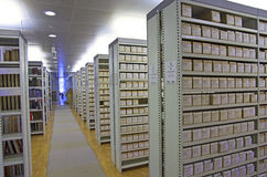 Library catalog. Archive on shelves in row Royalty Free Stock Images