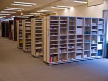 Library of catalogs and brochures Stock Image