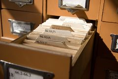 Library catalogue close view Royalty Free Stock Images