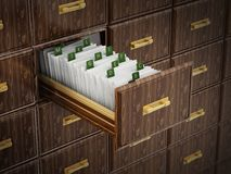 Library catalogue wooden drawer with letters. 3D illustration.  Royalty Free Stock Photo