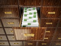 Library catalogue wooden drawer with letters. 3D illustration.  Royalty Free Stock Photos