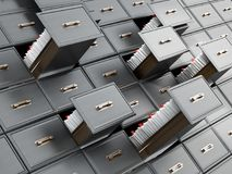 Library catalogue wooden drawer with letters. 3D illustration.  Royalty Free Stock Image