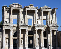 The Library of Celsus. Amongst the ruins of Ephesus, the Library of Celsus stands tall against a beautiful blue sky Stock Images