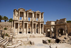 Library Of Celsus at Ephesus. The front facade and courtyard of the library building at Ephesus is an imposing ancient Greek and Roman structure. Built from old Stock Photos