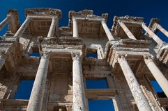 Library of Celsus in Ephesus. The library of Celsus is an ancient Roman building in Ephesus, Anatolia, Turkey. It was built in honor of the Roman Senator Royalty Free Stock Photos