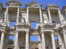 Library of Celsus Ephesus. Architectural details of Celsus library, Ephesus, Izmir, Turkey stock photo