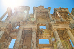 Library of celsus facade in bright sunlight Royalty Free Stock Photos