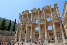 Library of Celsus Tourists Stock Photos