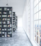Library with city view. Modern concrete library interior with book shelves, daylight and city view. 3D Rendering royalty free illustration
