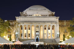 The Library of Columbia University. Low Memorial Library on the campus of Columbia University with crowds below for a festival in New York City Stock Image