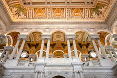 Library of congress. Ceiling and columns in library of congress Stock Image