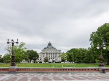 Library of Congress Washington. A plaza with iron street lamps and the facade of the library of the congress with its copper roof, Washington, District of Royalty Free Stock Image