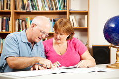 Library - Couple Studying Stock Image
