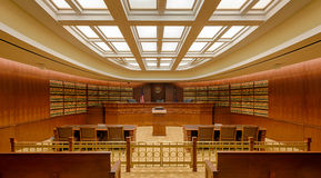 Library courtroom. The 'Library' Court of Appeals Courtroom in the Ralph L. Carr Colorado Judicial Center at 2 E. 14th Avenue in Denver, Colorado on July 24 royalty free stock photo