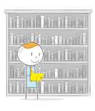 Library. Doodle stick figure: A business man reading a book in a library stock illustration