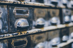 Library drawers closeup - vintage furniture. Library drawers closeup , vintage furniture Royalty Free Stock Photo