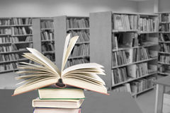 Library. Encyclopedia. The open book and public library. Encyclopedia royalty free stock images