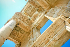 Library in ephesus. The mighty facade and columns of the ancient library in ephesus, turkey Stock Photos