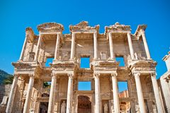 Library in Ephesus. Ancient and historic Julius Celsus library in Ephesus, very popular touristic attraction and travel destination in Turkey Royalty Free Stock Photos