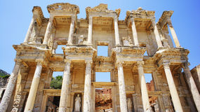 Library of Ephesus. Facade of the ancient library in Ephesus Royalty Free Stock Photos