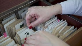 Library. File cabinet. File cabinet. card index public library stock video footage