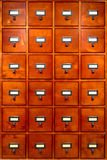 Library File Cabinet with Old Wood Card Drawers Stock Photography
