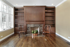 Library with fireplace Stock Image