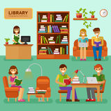 In the Library. Flat design vector illustration of Library with girls and boys reading books, interior, big bookcase, lamp, bookshelf. Library infographic stock vector illustration